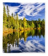 Forest And Sky Reflecting In Lake Fleece Blanket