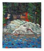 Forest Cottage Fleece Blanket