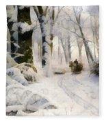 Forest In Winter Fleece Blanket