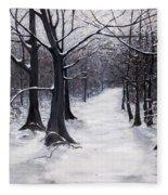 Forest Path In Winter Fleece Blanket