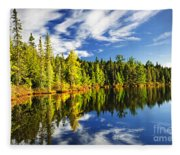 Forest Reflecting In Lake Fleece Blanket