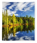 Forest Reflecting In Lake Fleece Blanket