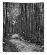 Forest Trail Bw Fleece Blanket