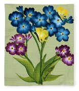 Forget Me Nots And Butterflies Fleece Blanket