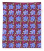 Forgetmenot Pattern On Marsala In Square Fleece Blanket