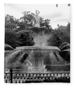 Forsyth Park Fountain - Black And White 2x3 Fleece Blanket