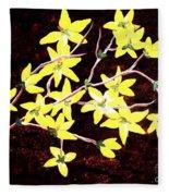 Forsythia Branches Fleece Blanket