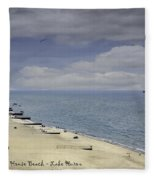 Fort Gratiot Light House Beach Fleece Blanket