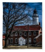 Fort Gratiot Lighthouse And Buildings With Clouds Fleece Blanket