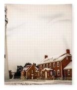 Fort Gratiot Lighthouse In Winter Fleece Blanket