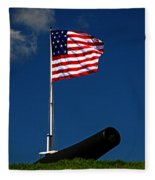 Fort Mchenry Flag And Cannon Fleece Blanket