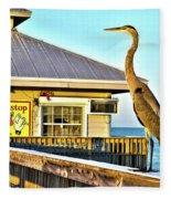 Fort Myers Beach Bird On Pier Fleece Blanket