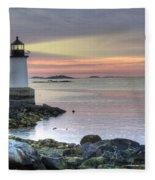 Fort Pickering Lighthouse At Sunrise Fleece Blanket