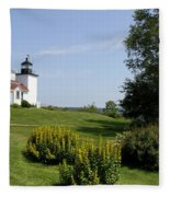 Fort Point Light Maine Fleece Blanket