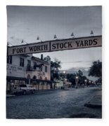 Fort Worth Stockyards Bw Fleece Blanket