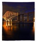 Forth Rail Bridge At Sunset Fleece Blanket