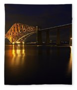 Forth Rail Bridge With Train Fleece Blanket