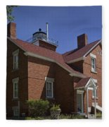 Forty Mile Point Lighthouse In Michigan Number 417 Fleece Blanket