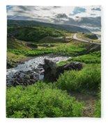 Fossa Waterfall In Hvalfjordur, Iceland Fleece Blanket