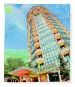 Founder's Tower In Oklahoma City Fleece Blanket