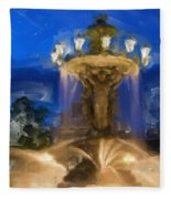 Fountain At Dusk Fleece Blanket