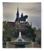 Fountain At Eakins Oval Fleece Blanket