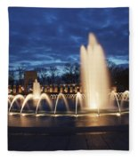Fountain At Night World War II Memorial Washington Dc Fleece Blanket
