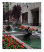Fountain At Rockefeller Center Nyc Fleece Blanket