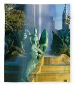 Fountain In Front Of A Building, Logan Fleece Blanket