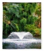 Fountain In The Park Fleece Blanket