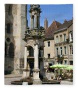 Fountain On The Market Place Autun Fleece Blanket