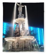 Fountain Square At Night Fleece Blanket