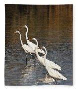 Four Egrets Fishing Fleece Blanket