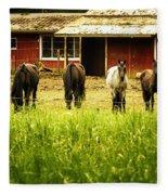 Four Horses Fleece Blanket