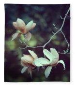 Four Magnolia Flower Fleece Blanket