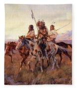 Four Mounted Indians Fleece Blanket