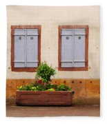 Four Pale Blue Shutters In Alsace France Fleece Blanket