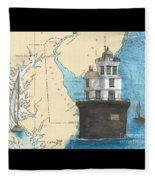 Fourteen Ft Bank Lighthouse De Nautical Chart Map Art Fleece Blanket