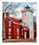 Fourty Mile Point Lighthouse Fleece Blanket