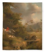 Fox Hunting In Hilly Country Fleece Blanket