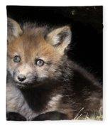 Fox Kit In Den Fleece Blanket