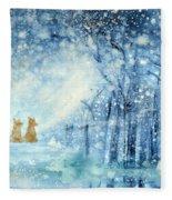 Foxes In The Snow Fleece Blanket