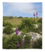 Foxgloves And Cows Fleece Blanket