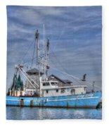 Shrimp Boat At Port Fleece Blanket