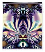 Fractal 26 Jeweled Tone Lotus Flower Fleece Blanket