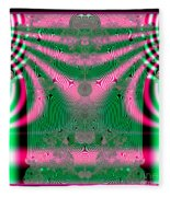 Fractal 34 Kimono In Pink And Green Fleece Blanket