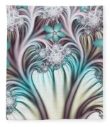 Fractal Abstract Fantasy Flower Garden 2 Fleece Blanket