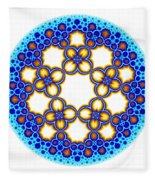 Fractal Escher Winter Mandala 3 Fleece Blanket