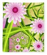 Fractal Fantasy Neon Flower Garden Fleece Blanket