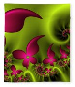 Fractal Fluorescent Fantasy Flowers Fleece Blanket